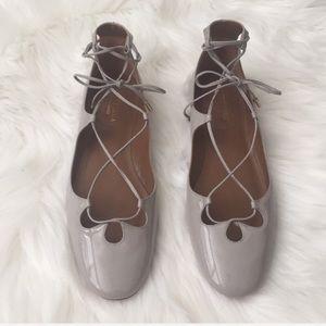 New! Aquazzura grey patent leather dancer flats